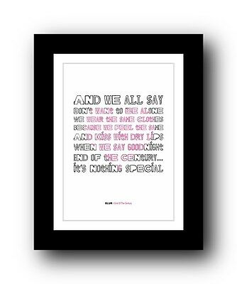 BLUR End Of The Century #2  ❤  Song Lyrics Typography Poster Art Print • 16.95£