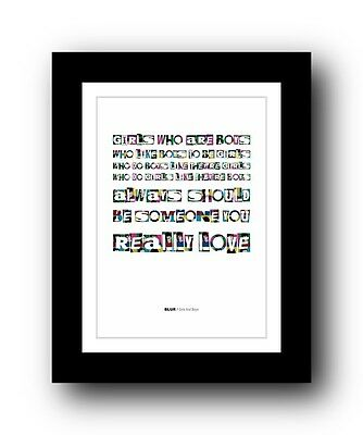 BLUR Girls And Boys #2  ❤  Song Lyrics Typography Poster Art Print • 16.95£