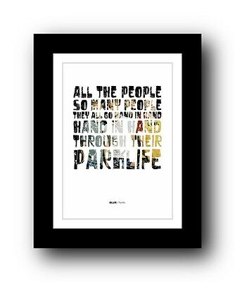 BLUR Parklife #2  ❤  Song Lyrics Typography Poster Art Print • 14.95£