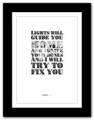 ❤ COLDPLAY Fix You ❤ Song Lyrics Poster Art Limited Edition Typography Print #7 • 14.95£