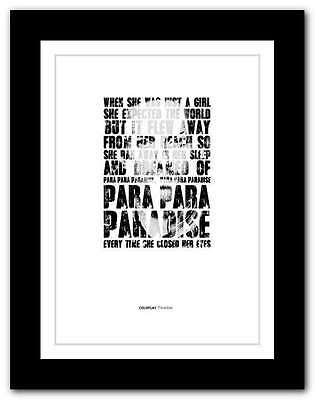 ❤ COLDPLAY Paradise ❤ Song Lyrics Poster Limited Edition Typography Print #14 • 15.95£