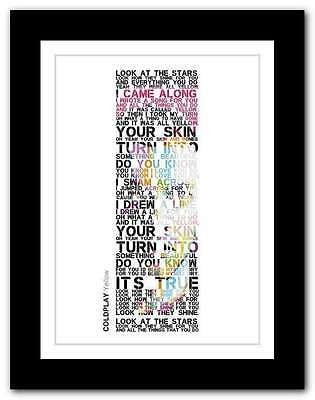❤ COLDPLAY Yellow ❤ Song Lyrics Poster Art Limited Edition Typography Print #26 • 14.95£