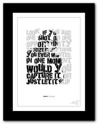 EMINEM  Lose Yourself ❤  Song Lyrics Typography Poster Art Print #22 • 16.95£