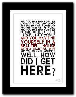 TALKING HEADS Once In A Lifetime ❤ Song Lyrics Typography Poster Art Print #104 • 9.95£