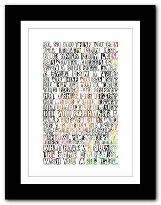 PINK FLOYD Wish You Were Here ❤  Song Lyrics Typography Poster Art Print #55 • 15.95£