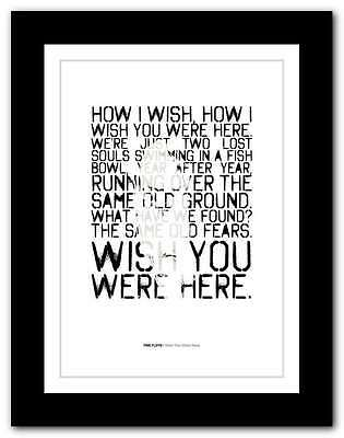 PINK FLOYD Wish You Were Here ❤ SYD BARRETT Typography Poster Art Print #57 • 15.95£