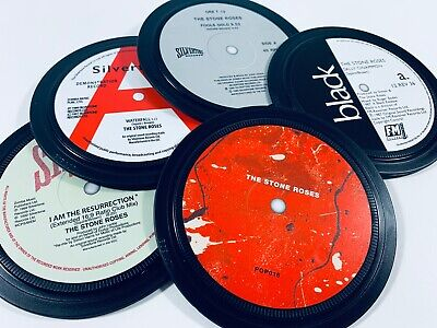 STONE ROSES. 5 Vinyl Coasters In A Tin. Sally Cinnamon, Fools Gold, Waterfall • 20£