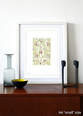 OASIS ❤ Song Bird ❤ Song Lyric Poster Art Limited Edition Print - 5 Sizes #38 • 15.95£