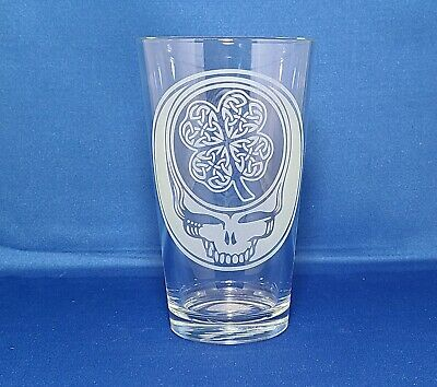 Grateful Dead Irish Celtic Steal Your Face Sandblasted Etched Pint Glasses • 13.33£