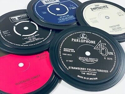 1960s Record Label Coasters. The Who, Beatles, Parlophone Decca Apple Immediate. • 20£