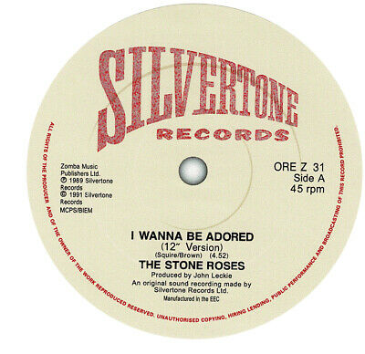 Stone Roses. I Wanna Be Adored. Repro Record Label Sticker • 2£