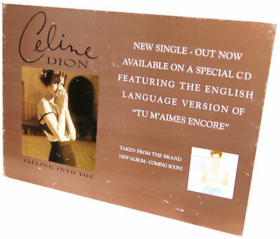 CELINE DION DISPLAY Falling Into You Rare UK PROMO Only Counterstand 30 Cm X 40 • 39.95£