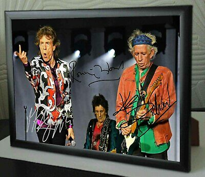 Mick Jagger Keith Richards Ronnie Wood Rolling Stones SIGNED FRAMED TRIBUTE • 17.99£