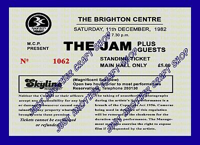 The Jam Final Gig Ticket Stub Brighton 11 December 1982 A4 Size Poster Sign • 4.49£