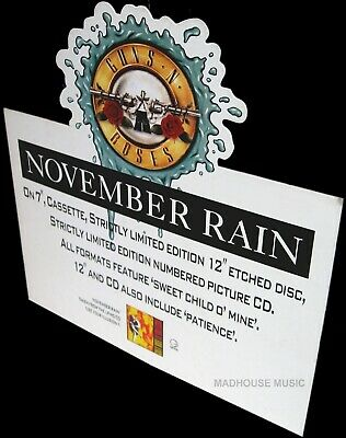 GUNS N ROSES November Rain UK PROMO Only Standee DISPLAY SHAPED Rare • 39.95£