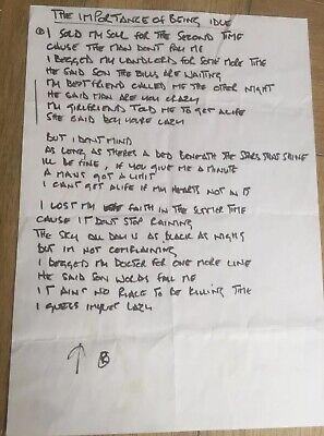 Oasis Noel Gallagher 'The Importance Of Being Idle' Genuine Handwritten Lyrics • 810£