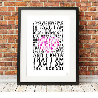 BEN FOLDS - The Luckiest ❤ Song Lyrics Poster Art Limited Edition Print #91 • 9.95£