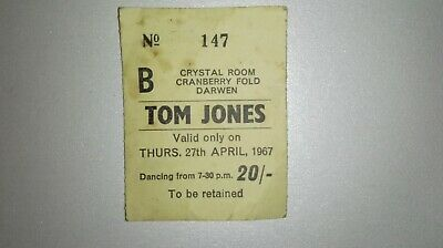 Original Tom Jones Show Ticket 1967 (extremely Rare) • 80£