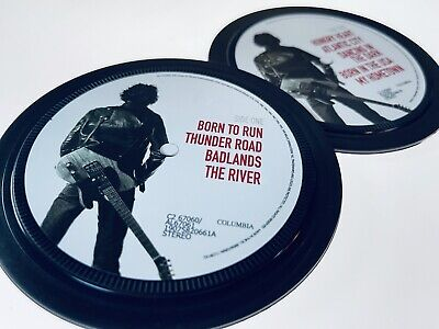 Bruce Springsteen - 2 Vinyl Record Label Coasters. Born To Run. Born In The USA • 6£
