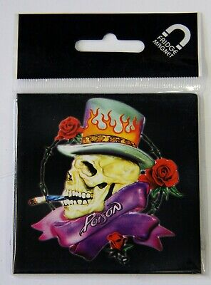 Poison Skull Metal Fridge Magnet Official  Retro Collectible Collectable • 3£