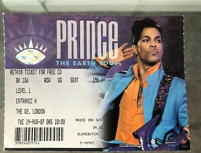 PRINCE THE EARTH TOUR O2 Arena AUGUST 2007 Ticket Stub • 19.95£