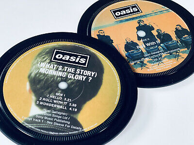 Oasis - 2 Vinyl Record Label Coasters. Definitely Maybe. What's The Story • 6£