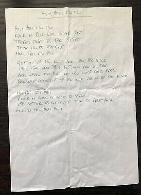 "Oasis Noel Gallagher ""Hey Hey My My"" Genuine Handwritten Lyrics • 750£"