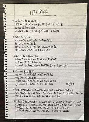 "Oasis Noel Gallagher ""Whatever"" Genuine Handwritten Lyrics • 995£"