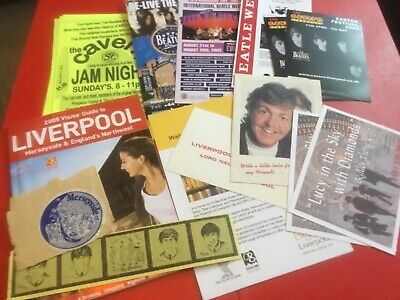 THE BEATLES / LIVERPOOL FLYERS LEAFLETS PAPER LOT 1980s TO 2000s PAUL McCARTNEY • 13.50£