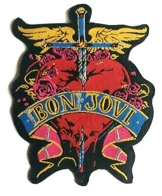 BON JOVI - Dagger Heart - Die Cut Woven Patch Sew/Iron On Rare Jon Aufnäher AOR • 4.99£