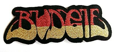 BUDGIE - Logo - Die Cut Glittered Woven Patch Sew/Iron On Rare Heavy Metal  • 3.79£
