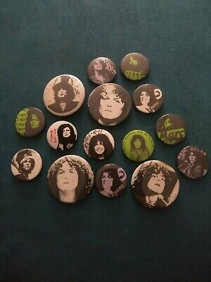 T.REX AND MARC BOLAN BUTTON  BADGES 15 X T-Rex Pin Badges Collection Vintage • 25£
