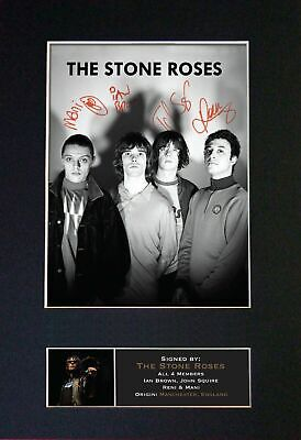 STONE ROSES - RARE Full Group Signed And Mounted Photograph ⭐⭐⭐⭐⭐ • 24.95£