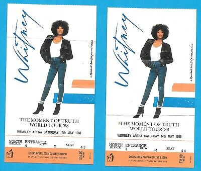 WHITNEY HOUSTON TICKETS X 2  THE MOMENT OF TRUTH WORLD TOUR '88 WEMBLEY ARENA • 7.50£