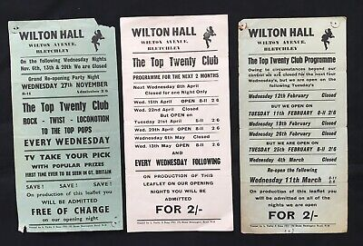 1960s POP The Top Twenty Club Flyer Posters For Wilton Hall Bletchley • 10£