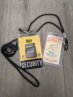 Sting Vintage Memorabilia 2 Security BackStage Crew Pass One Signed 2000 & 1996 • 214.57£