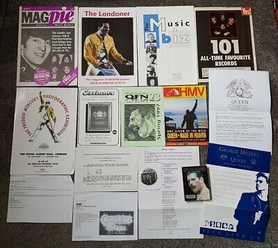 QUEEN - Freddie Mercury - Memorabilia - Fanclub Lot - Book - Badge • 19.99£