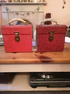 Vintage 7  Record Carry Case Single Box 2 X Boxes Red White  • 15£
