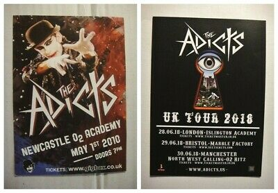 THE ADICTS - 2 X A6 FLYERS - Newcastle Gig 2010, And UK TOUR JUNE 2018  • 2.20£
