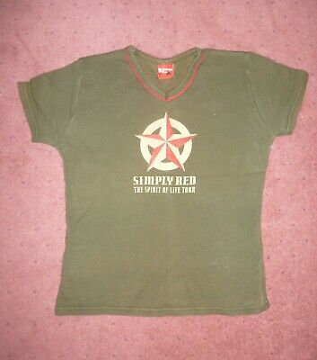 Simply Red Band T Shirt, Army Green, Spirit Of Life Tour, Small • 5.99£
