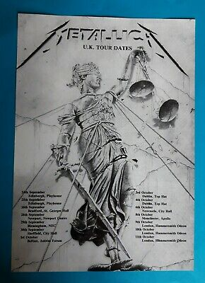 Metallica And Justice For All UK Tour Small A4 Promo Poster. 1989. • 10.99£