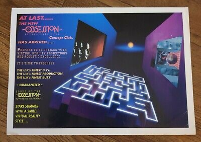 OBSESSION August 1993 Rave Flyer Tan Bank Wellington • 1.99£