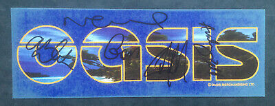 Oasis Promo Sticker Signed By Noel, Liam Gallagher, Gem, Andy Bell, Alan White • 90£