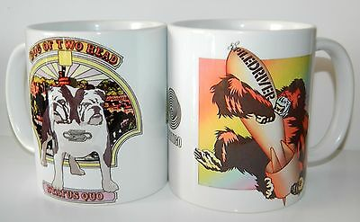 STATUS QUO - SET OF 2 STUNNING 11oz MUGS FEATURING PILEDRIVER & DOGS  ARTWORK • 9£
