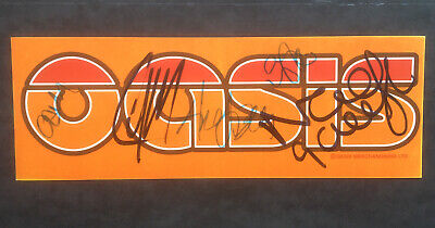 Oasis Promo Sticker Signed By Noel, Liam Gallagher, Gem, Andy Bell, Alan White • 85£