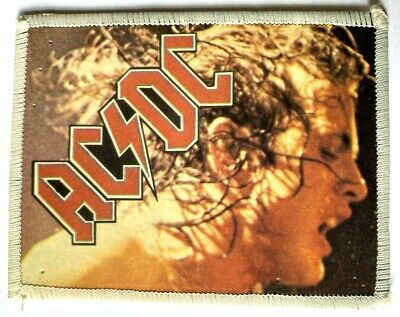 AC/DC - Angus Young - Old Original Vintage 1980`s Photo Card Patch • 5.99£