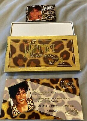 Whitney Houston Ticket W/Promo Box + Pin From The Sands Hotel & Casino • 52.27£