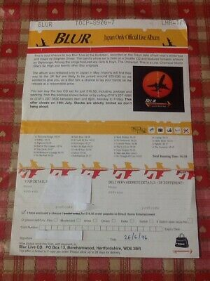 Crazy Rare 1996 Order Form For The 'Live At The Budokan' Blur Album • 14.99£