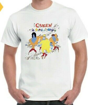 Queen Magic Tour Knebworth Park 1986 Retro White T Shirt (Gildan Ultra Cotton) • 26£