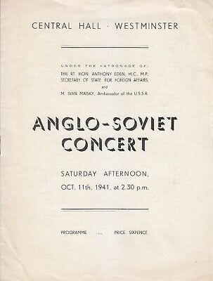 Concert Programme 1941 Westminster William Walton Conducts Own Music • 4.99£